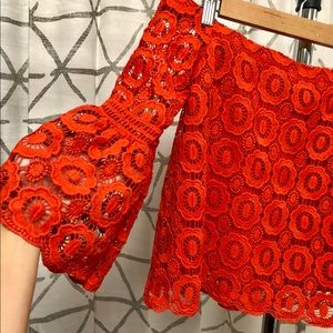 Lulu's red lace off-shoulder crop top. Brand New.